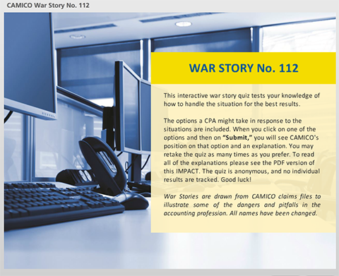 CAMICO War Story #112